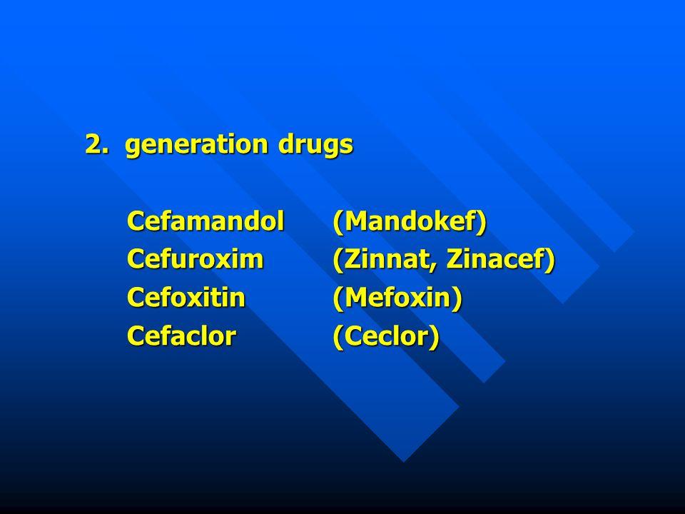 2. generation drugs Cefamandol(Mandokef) Cefuroxim(Zinnat, Zinacef) Cefoxitin(Mefoxin) Cefaclor(Ceclor)