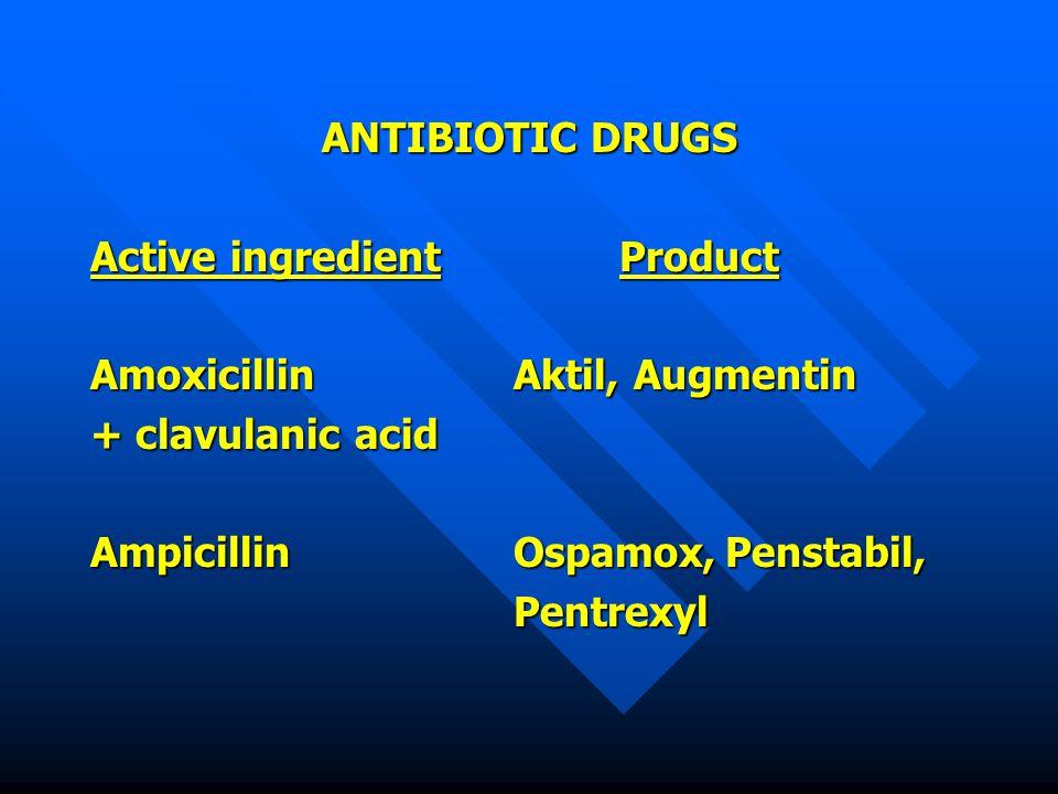 ANTIBIOTIC DRUGS Active ingredientProduct AmoxicillinAktil, Augmentin + clavulanic acid AmpicillinOspamox,Penstabil, Pentrexyl