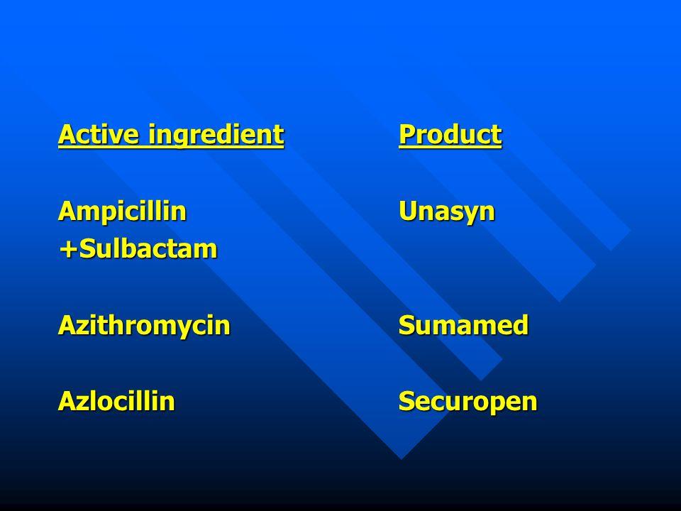 Active ingredientProduct AmpicillinUnasyn +Sulbactam AzithromycinSumamed AzlocillinSecuropen