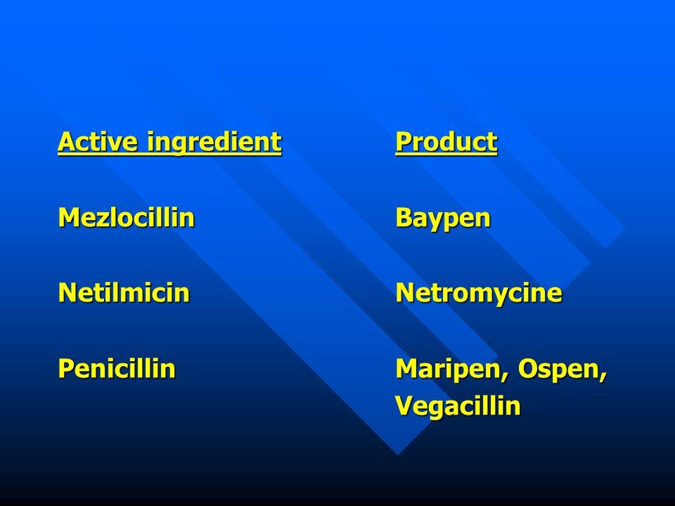 Active ingredientProduct MezlocillinBaypen NetilmicinNetromycine PenicillinMaripen, Ospen, Vegacillin
