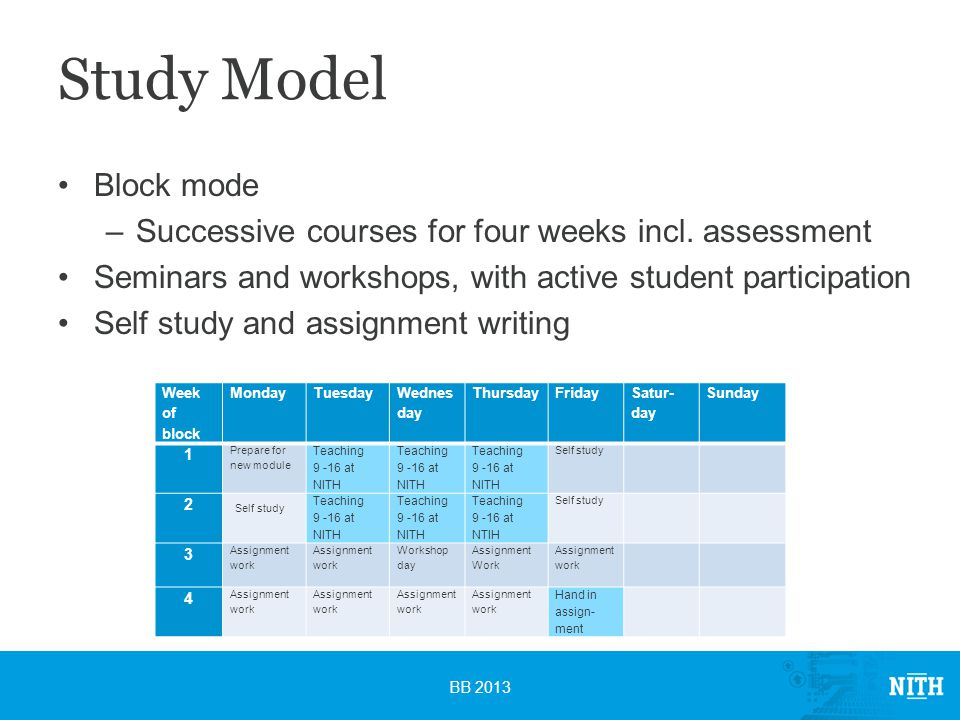 Study Model Block mode –Successive courses for four weeks incl.
