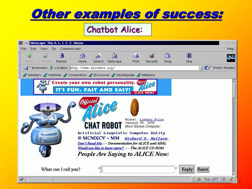 3 Other examples of success: Chatbot Alice: