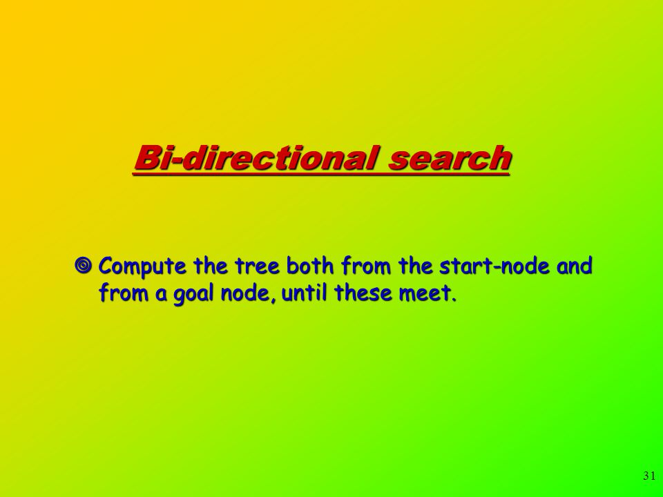 31 Bi-directional search  Compute the tree both from the start-node and from a goal node, until these meet.