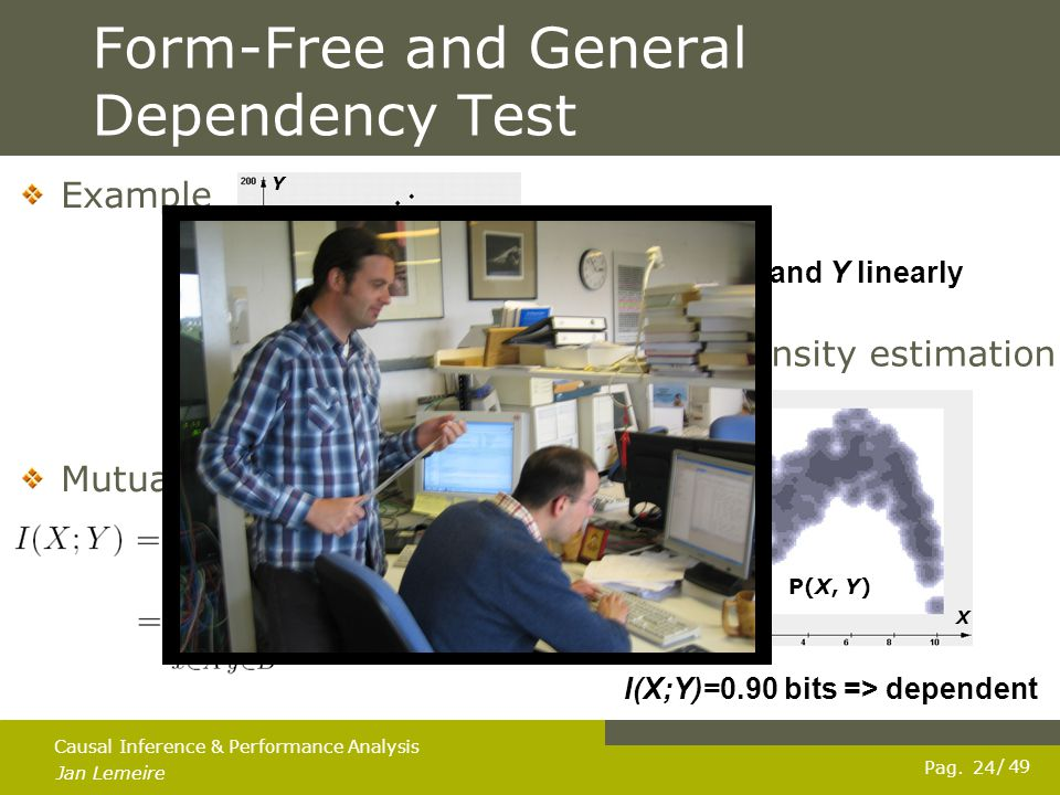Pag. Jan Lemeire / 49 24 Causal Inference & Performance Analysis Form-Free and General Dependency Test Mutual information Example Kernel density estim