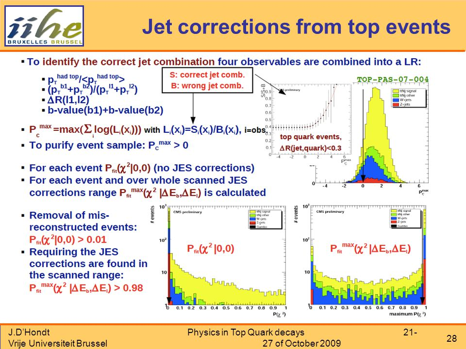 J.D'Hondt Vrije Universiteit Brussel Physics in Top Quark decays 21- 27 of October 2009 28 Jet corrections from top events
