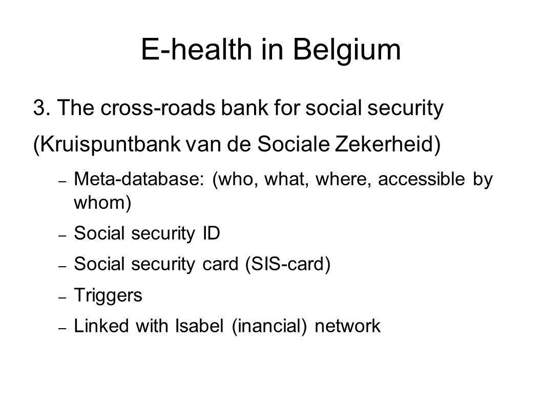 E-health in Belgium 3. The cross-roads bank for social security (Kruispuntbank van de Sociale Zekerheid) – Meta-database: (who, what, where, accessibl