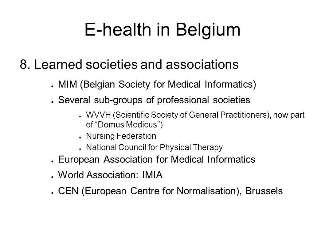 E-health in Belgium 8.