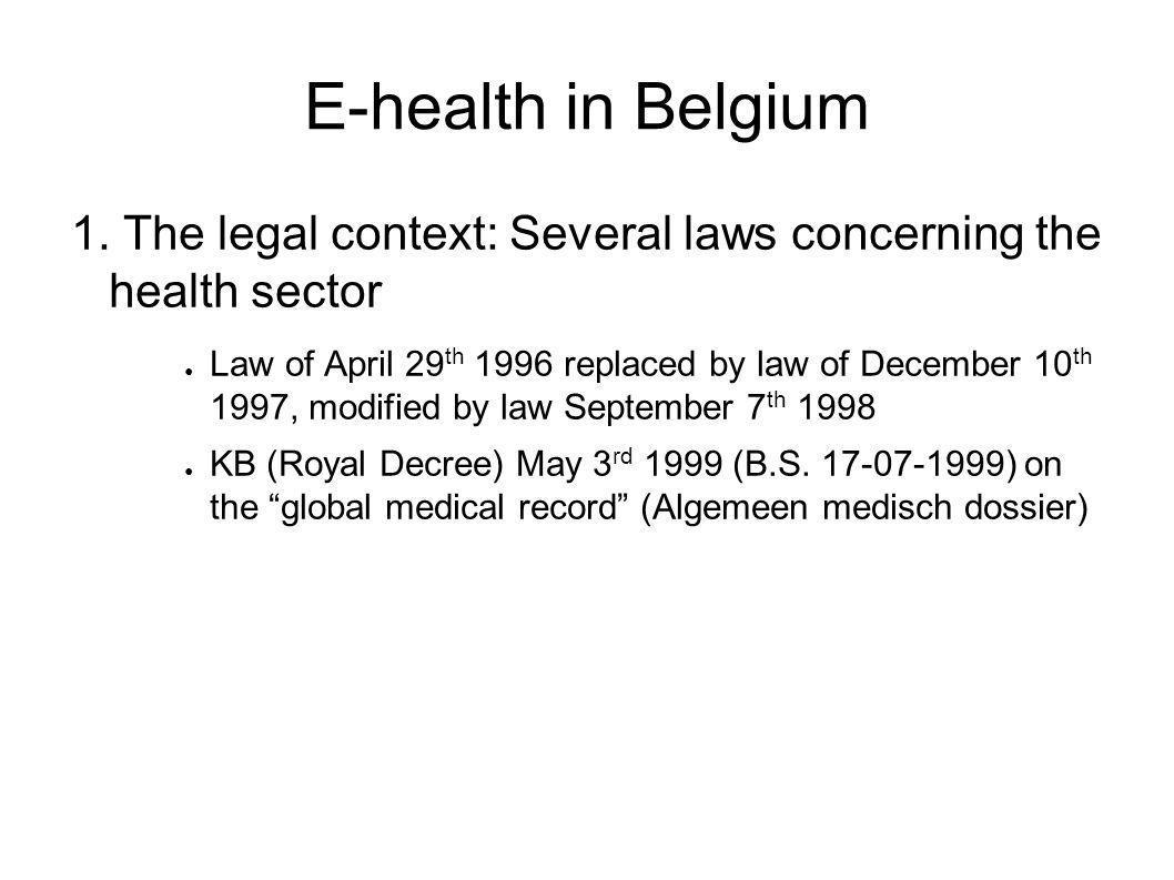 E-health in Belgium 1.