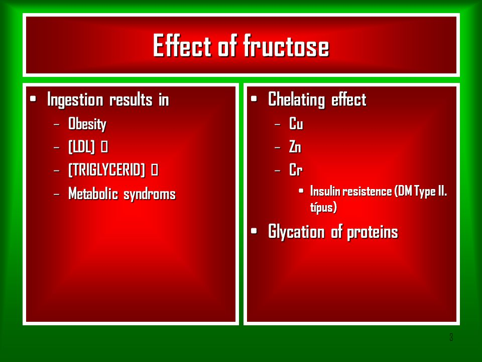 3 Effect of fructose Ingestion results in Ingestion results in – Obesity – [LDL]  – [TRIGLYCERID]  – Metabolic syndroms Chelating effect Chelating e