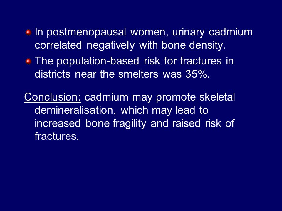 In postmenopausal women, urinary cadmium correlated negatively with bone density.