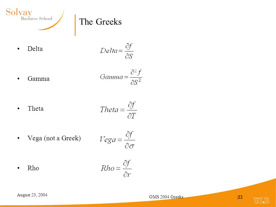 August 23, 2004 OMS 2004 Greeks |22 The Greeks Delta Gamma Theta Vega (not a Greek) Rho