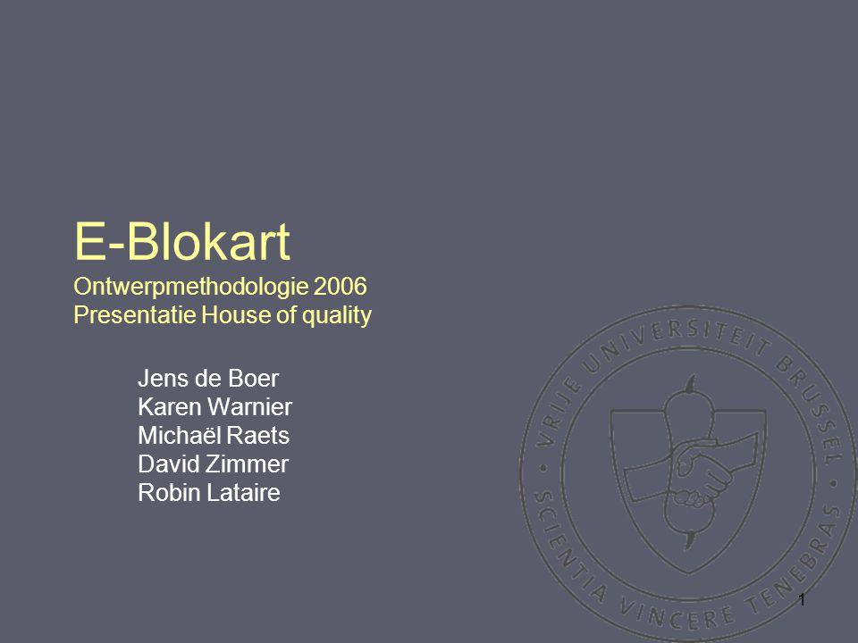 1 E-Blokart Ontwerpmethodologie 2006 Presentatie House of quality Jens de Boer Karen Warnier Michaël Raets David Zimmer Robin Lataire