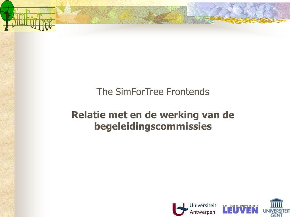 The SimForTree Frontends Relatie met en de werking van de begeleidingscommissies