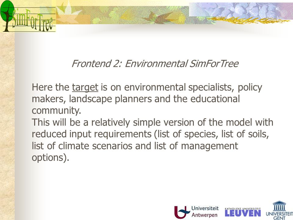 Environmental SimForTree Output emphasises on a global overview of costs and benefits and environmental effects at a yearly time-step, such as total carbon-budget, yield, economic value, carbon-sequestration, structural diversity, sustainability, impact on diversity and soil water.