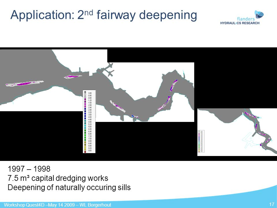 Workshop Quest4D –May 14 2009 – WL Borgerhout 17 Application: 2 nd fairway deepening 1997 – 1998 7.5 m³ capital dredging works Deepening of naturally