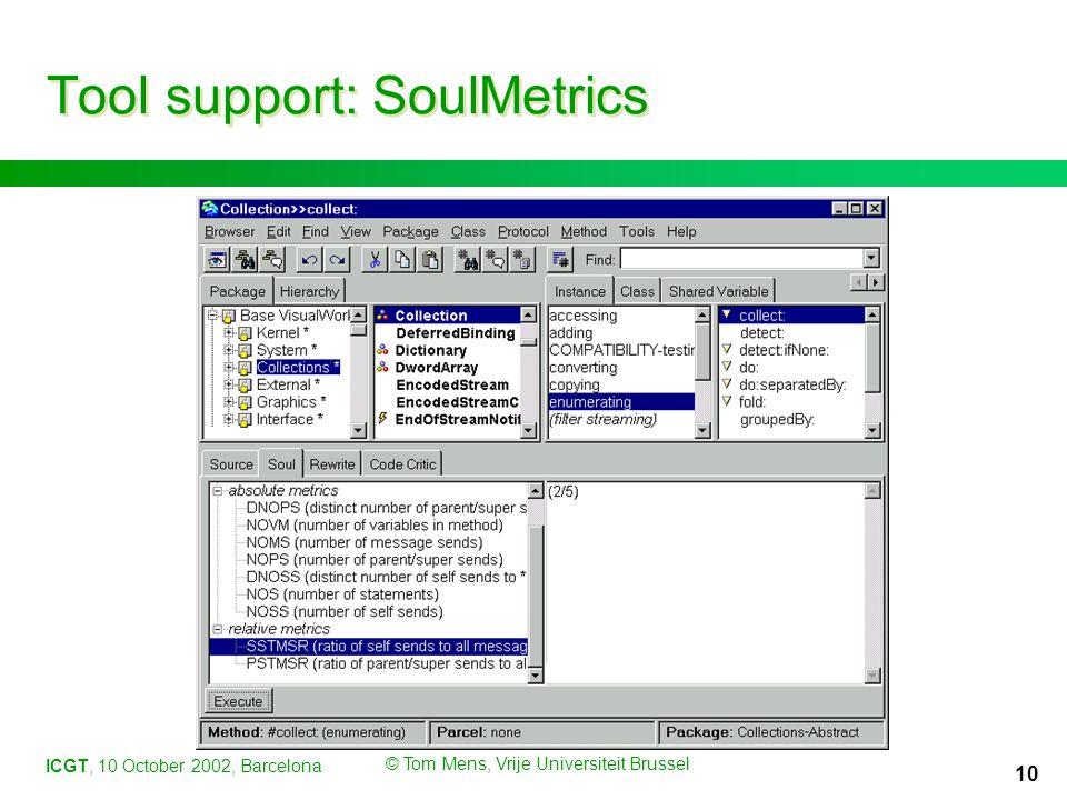 ICGT, 10 October 2002, Barcelona © Tom Mens, Vrije Universiteit Brussel 10 Tool support: SoulMetrics