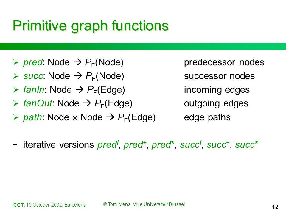 ICGT, 10 October 2002, Barcelona © Tom Mens, Vrije Universiteit Brussel 12 Primitive graph functions  pred: Node  P F (Node)predecessor nodes  succ: Node  P F (Node)successor nodes  fanIn: Node  P F (Edge)incoming edges  fanOut: Node  P F (Edge)outgoing edges  path: Node  Node  P F (Edge)edge paths + iterative versions pred i, pred +, pred*, succ i, succ +, succ*