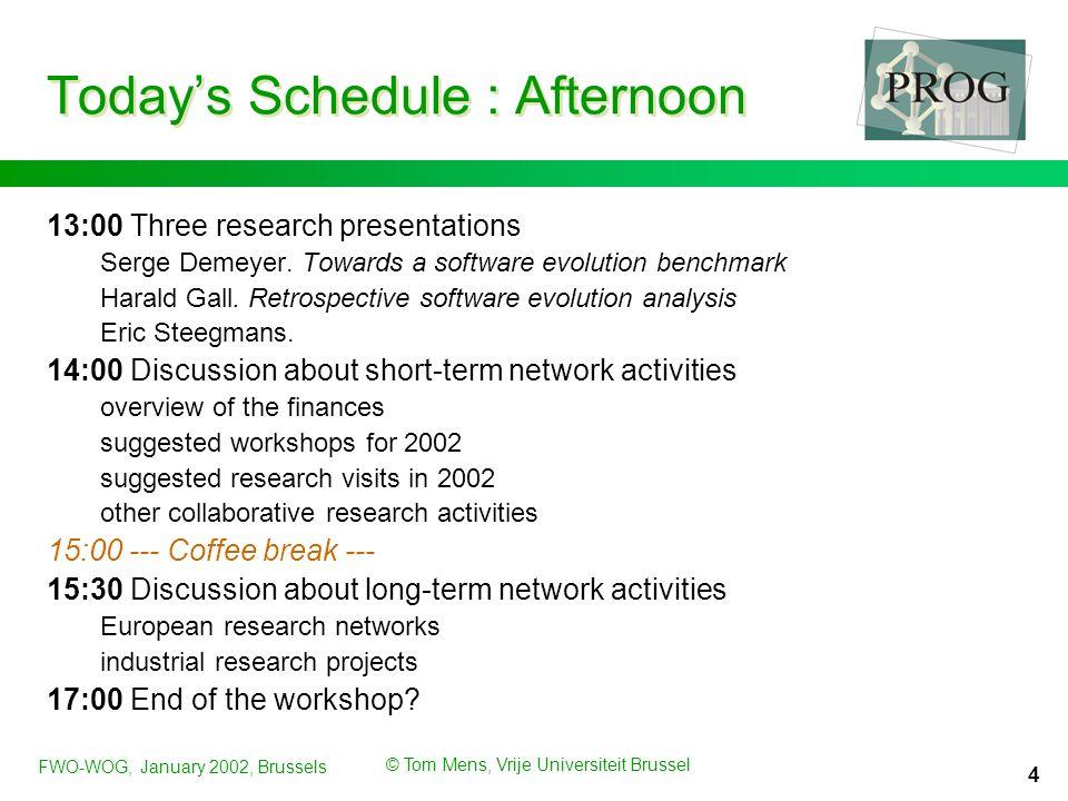 FWO-WOG, January 2002, Brussels © Tom Mens, Vrije Universiteit Brussel 5 Short-term network activities 1.