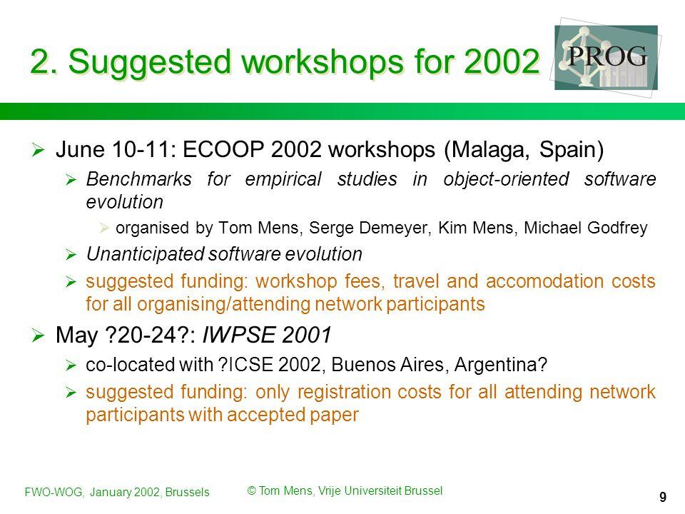 FWO-WOG, January 2002, Brussels © Tom Mens, Vrije Universiteit Brussel 9 2.