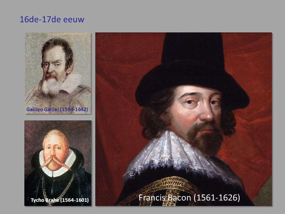16de-17de eeuw Francis Bacon (1561-1626) Galileo Galilei (1564-1642) Tycho Brahe (1564-1601)