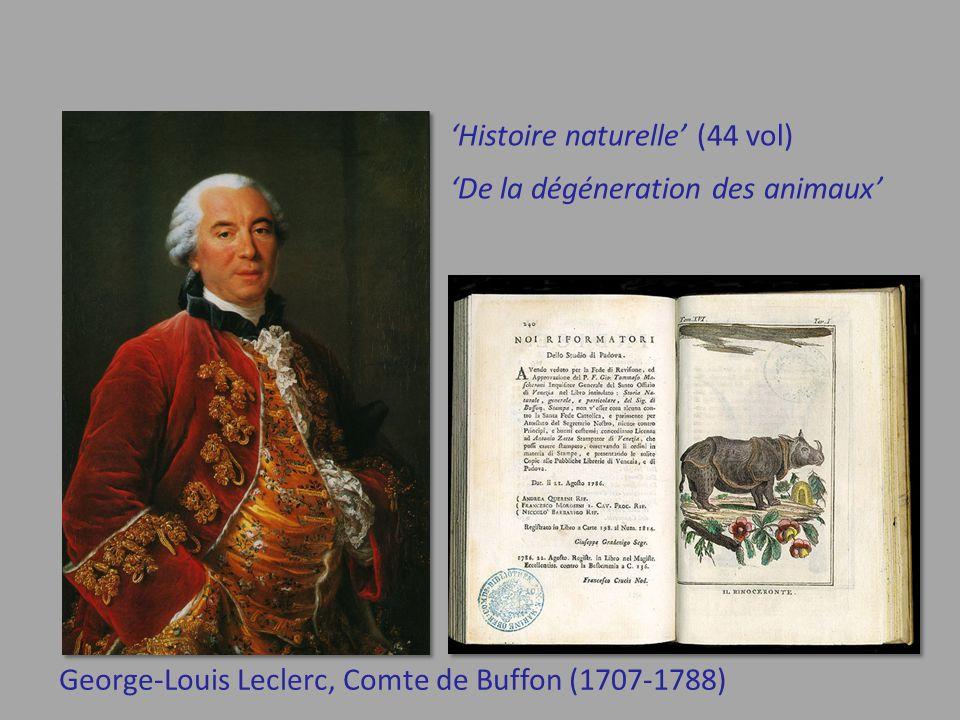 George-Louis Leclerc, Comte de Buffon (1707-1788) 'De la dégéneration des animaux' 'Histoire naturelle' (44 vol)