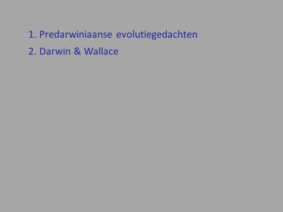 2. Darwin & Wallace 1. Predarwiniaanse evolutiegedachten
