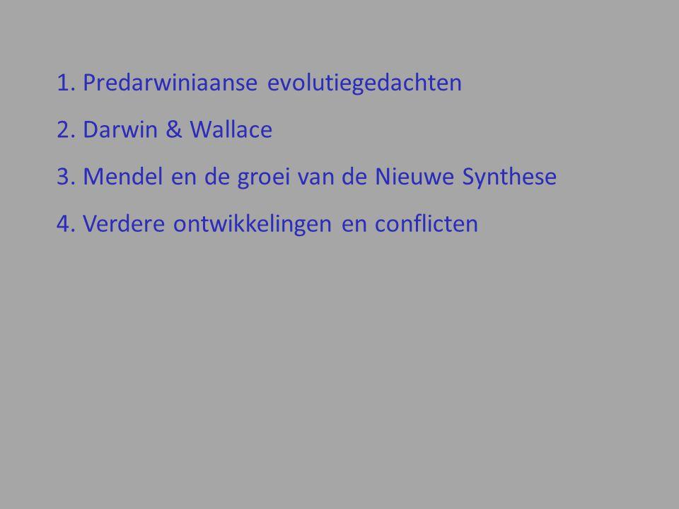 2.Darwin & Wallace 1. Predarwiniaanse evolutiegedachten 3.