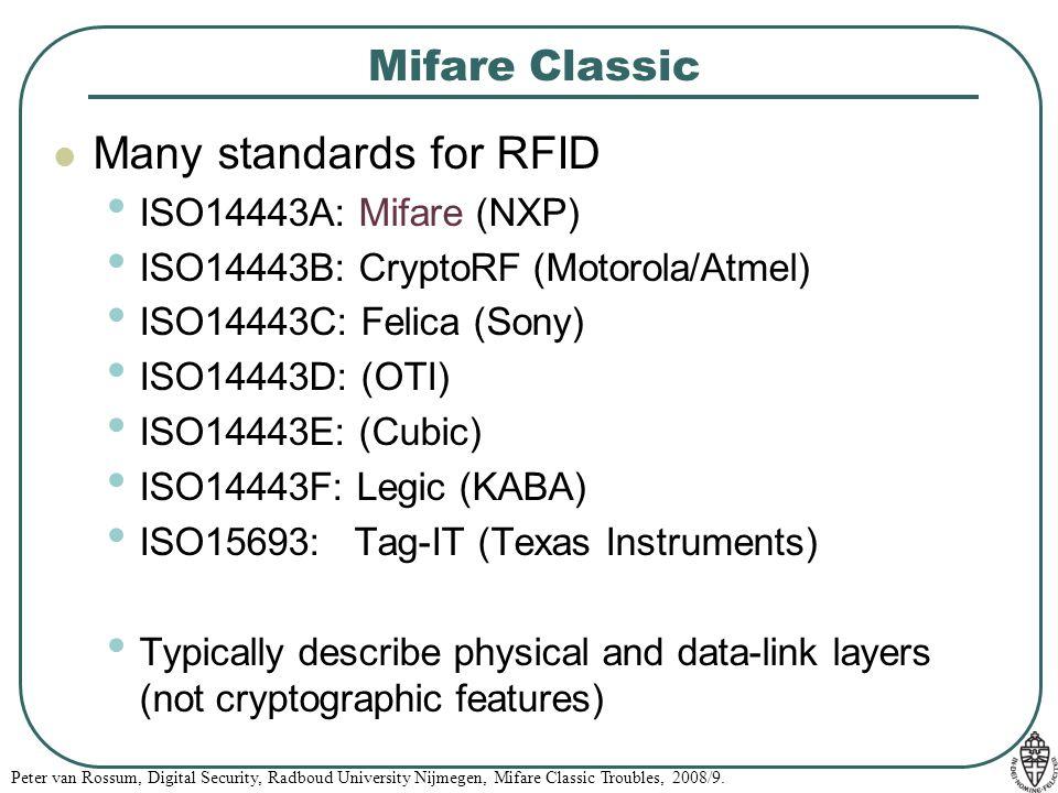 Peter van Rossum, Digital Security, Radboud University Nijmegen, Mifare Classic Troubles, 2008/9.