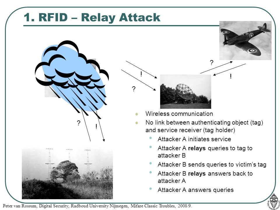 Peter van Rossum, Digital Security, Radboud University Nijmegen, Mifare Classic Troubles, 2008/9. 1. RFID – Relay Attack ? ? ! ! Wireless communicatio