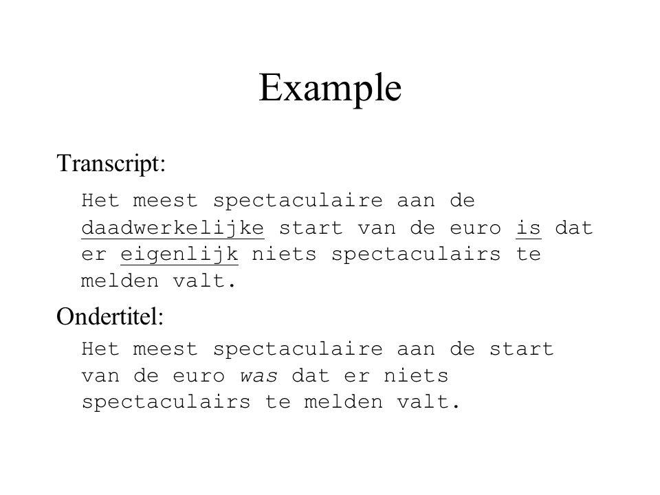 Example Transcript: Het meest spectaculaire aan de daadwerkelijke start van de euro is dat er eigenlijk niets spectaculairs te melden valt.