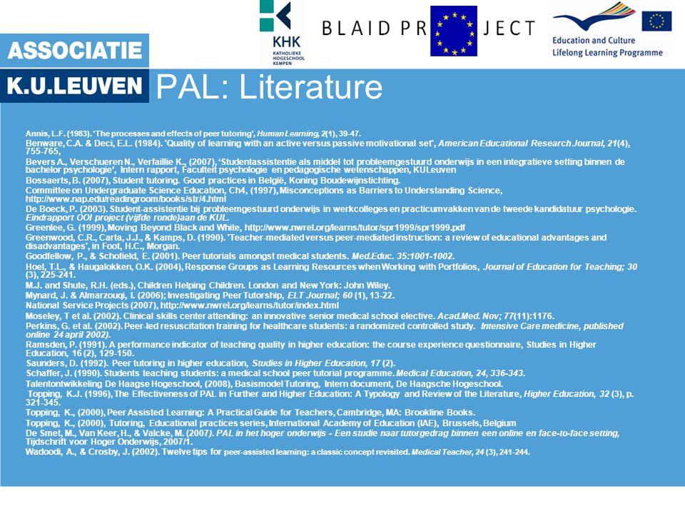 PAL: Literature Annis, L.F. (1983).