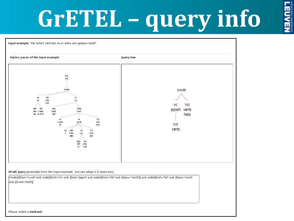 GrETEL – query info
