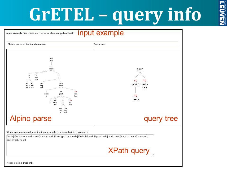 GrETEL – query info input example query treeAlpino parse XPath query