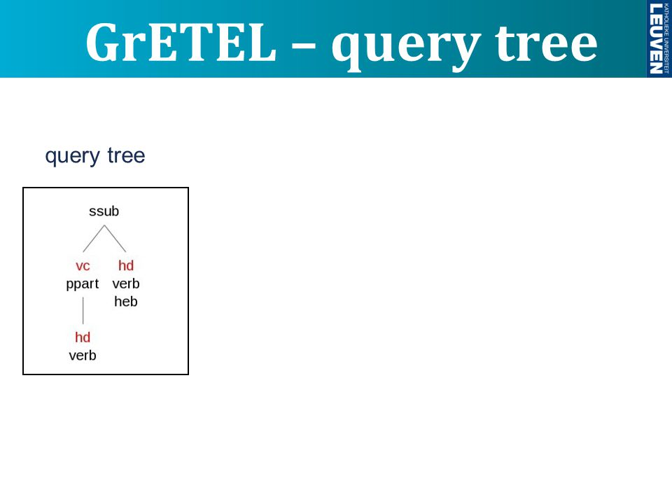 GrETEL – query tree query tree