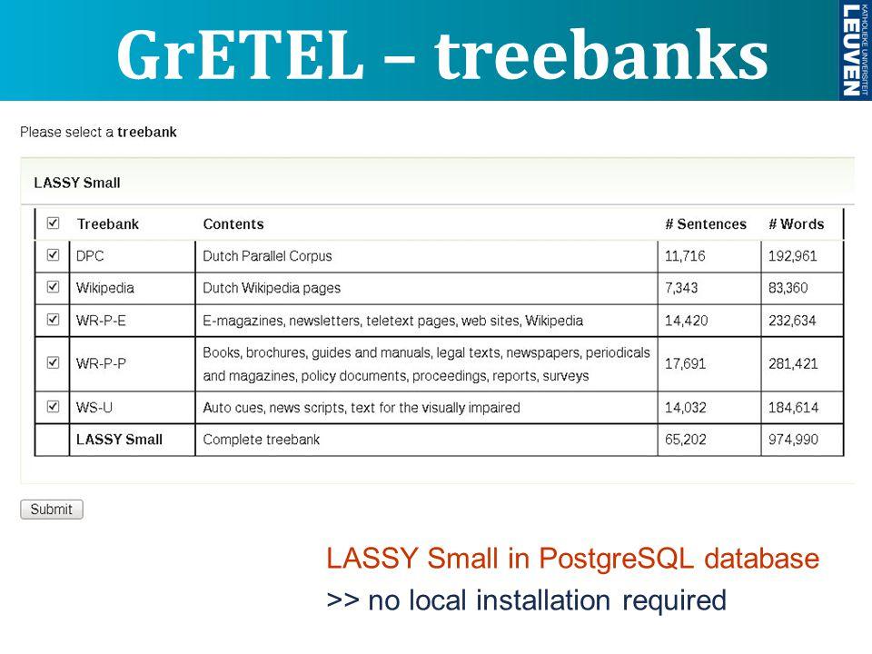 LASSY Small in PostgreSQL database >> no local installation required