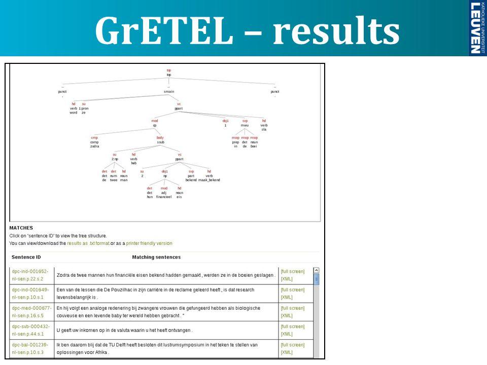GrETEL – results