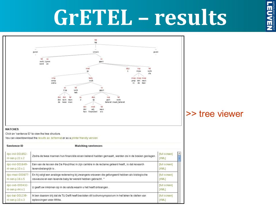 GrETEL – results >> tree viewer >> list of results