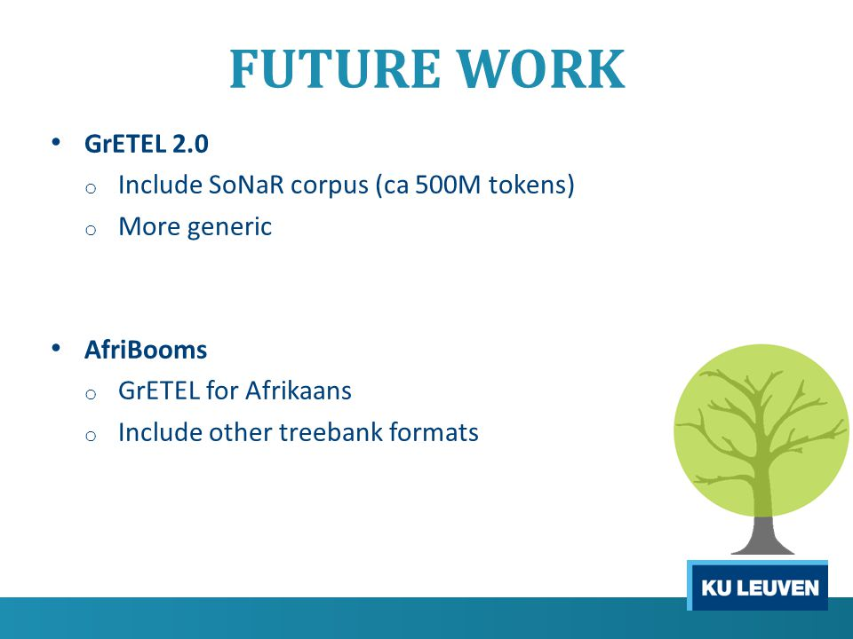 FUTURE WORK GrETEL 2.0 o Include SoNaR corpus (ca 500M tokens) o More generic AfriBooms o GrETEL for Afrikaans o Include other treebank formats
