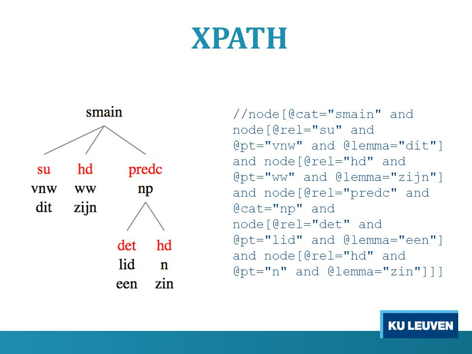 XPATH //node[@cat= smain and node[@rel= su and @pt= vnw and @lemma= dit ] and node[@rel= hd and @pt= ww and @lemma= zijn ] and node[@rel= predc and @cat= np and node[@rel= det and @pt= lid and @lemma= een ] and node[@rel= hd and @pt= n and @lemma= zin ]]]