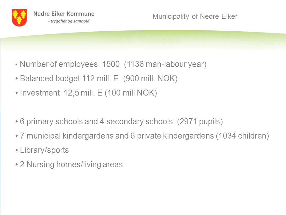 Municipality of Nedre Eiker Number of employees 1500 (1136 man-labour year) Balanced budget 112 mill.