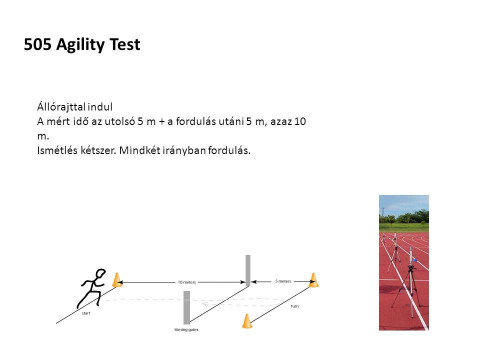 505 Agility Test Állórajttal indul A mért idő az utolsó 5 m + a fordulás utáni 5 m, azaz 10 m.