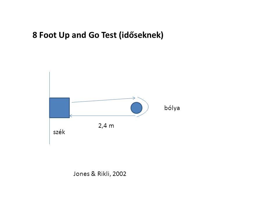 8 Foot Up and Go Test (időseknek) 2,4 m Jones & Rikli, 2002 szék bólya