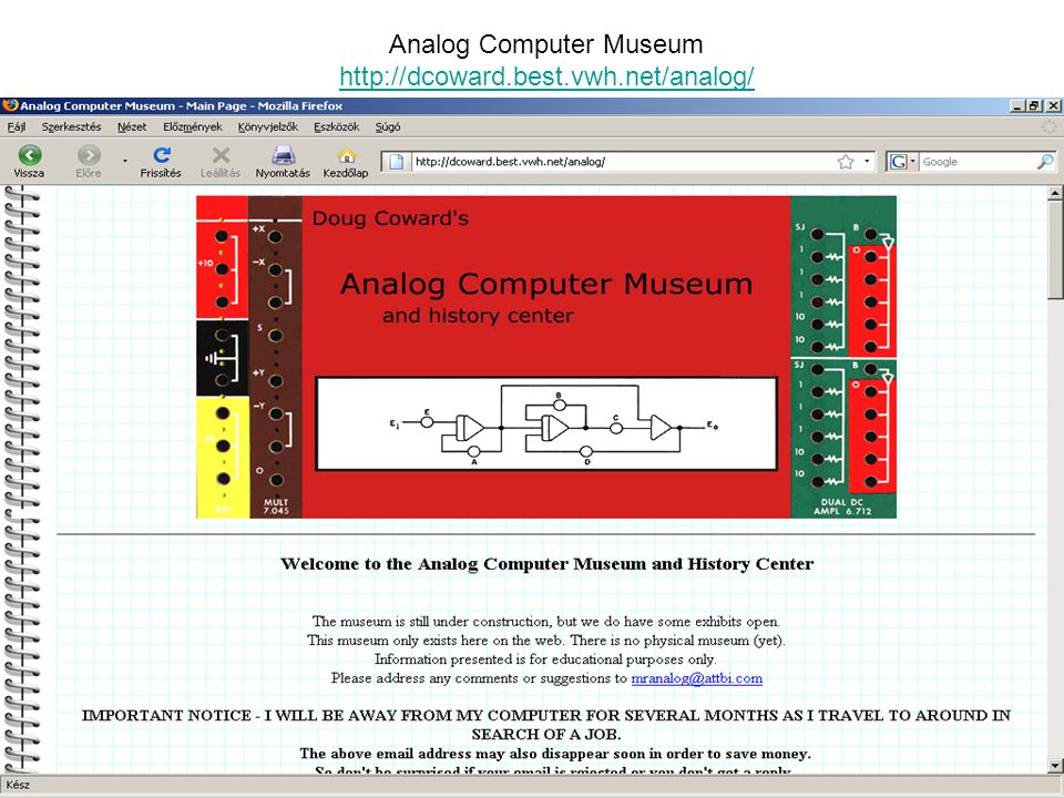 Analog Computer Museum http://dcoward.best.vwh.net/analog/