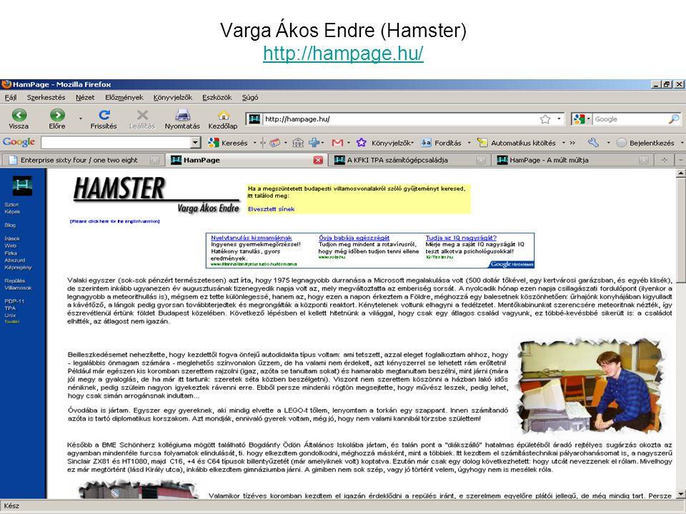 Varga Ákos Endre (Hamster) http://hampage.hu/ http://hampage.hu/