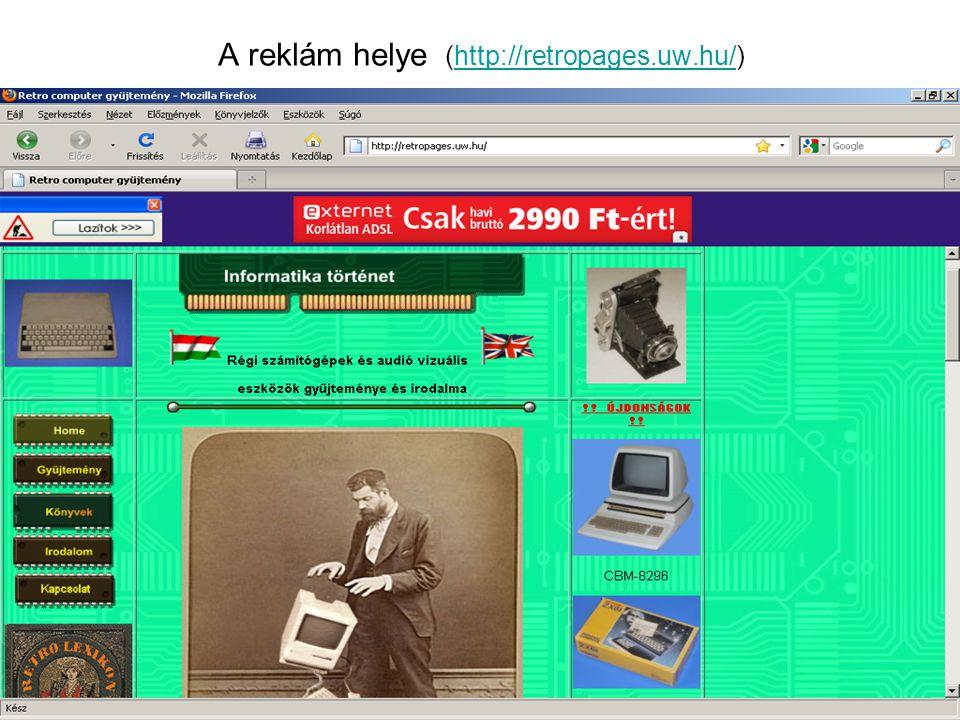 A reklám helye (http://retropages.uw.hu/)http://retropages.uw.hu/