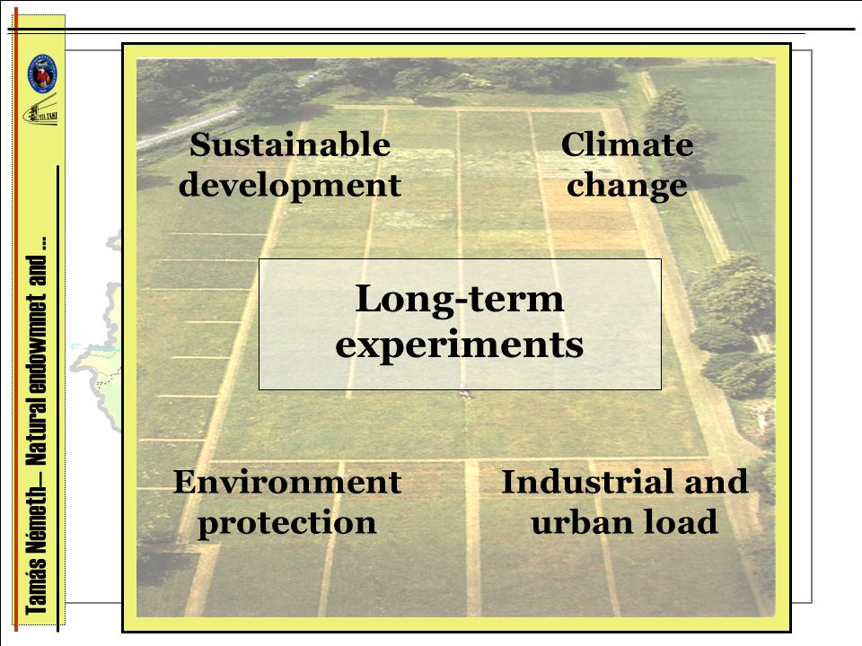 Sustainable development Climate change Long-term experiments Environment protection Industrial and urban load Tamás Németh— Natural endowmnet and …