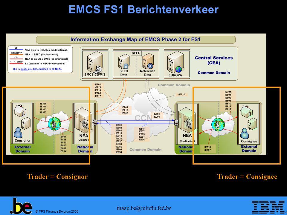 © FPS Finance Belgium 2008 masp.be@minfin.fed.be EMCS FS1 Berichtenverkeer Trader = ConsignorTrader = Consignee