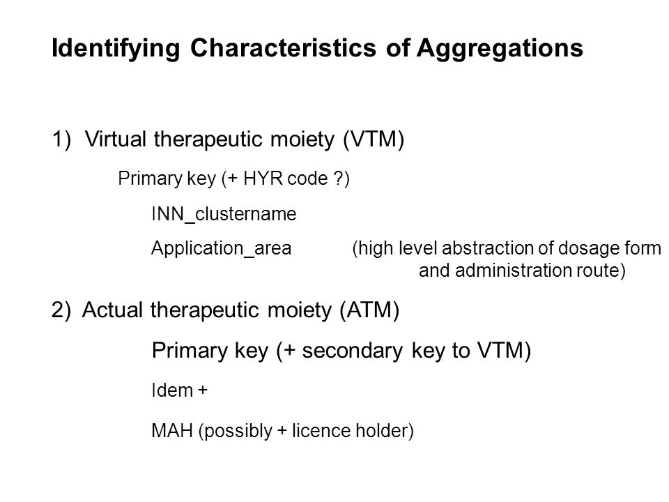 Identifying Characteristics of Aggregations (cont.) 3) Virtual Medicinal Product (VMP) Primary Key (+ secondary key to VTM) VTM + Strength_Pharmaceutical_Form (source FAGG) 4) Actual Medicinal Product (AMP) Primary Key (+secondary keys to VTM, ATM, VMP) VMP + Marketing Authorisation Holder (possibly + licence holder) Unit Pharmaceutical form Registration information