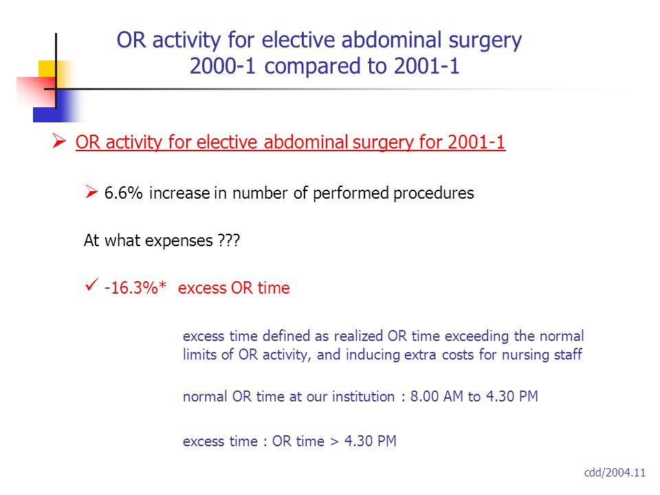  OR activity for elective abdominal surgery for 2001-1  6.6% increase in number of performed procedures At what expenses ??.