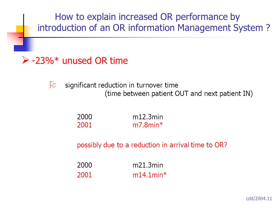  -23%* unused OR time  significant reduction in turnover time (time between patient OUT and next patient IN) 2000m12.3min 2001m7.8min* possibly due to a reduction in arrival time to OR.